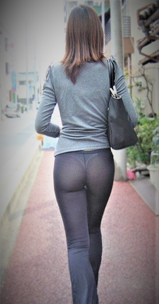 See through nude pant