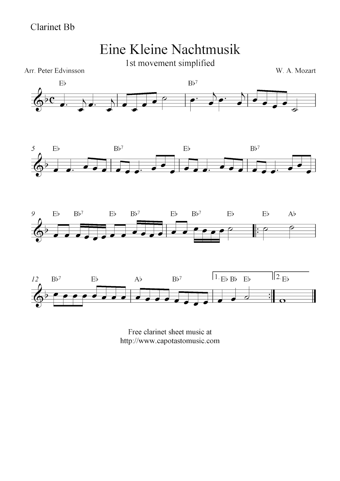 Free clarinet solo sheet music popular songs